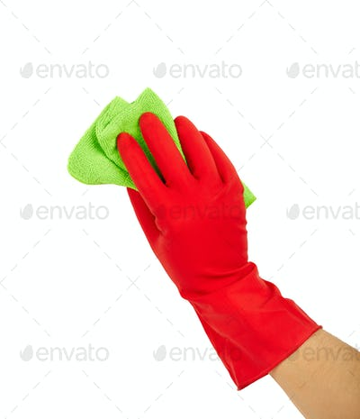 Hand in rubber glove