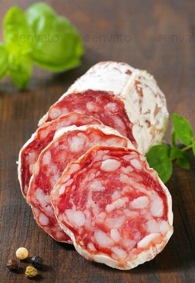 Sliced Saucisson Sec - French dry sausage