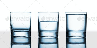 empty, half full and full water glasses