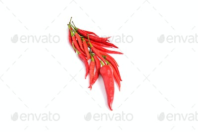 Tasty  red peppers  on a white background.