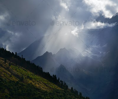 Sunbeam in mountains