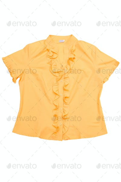 Modern yellow blouse  on a white.