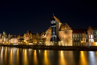 Gdansk Old Town at night by the Motlawa river