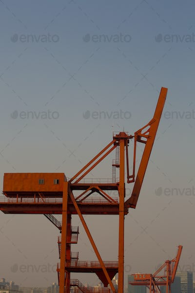 Shanghai harbor with red cranes