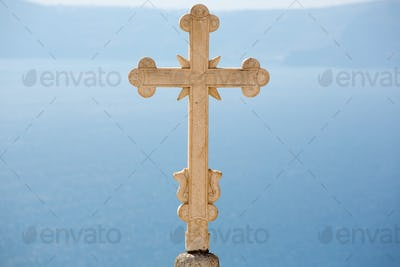 Close-up of an Marvelous Sculpted orthodox cross