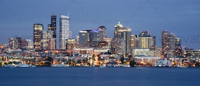 Seattle Skyline Downtown Office Buildings Nautical Transportation