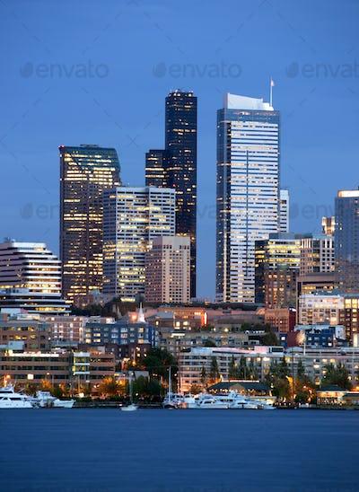 Seattle Skyline Downtown Office Buildings Nautical Transportation