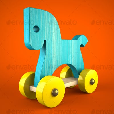 Blue wood horse toy on red background (symbol of the new year 20