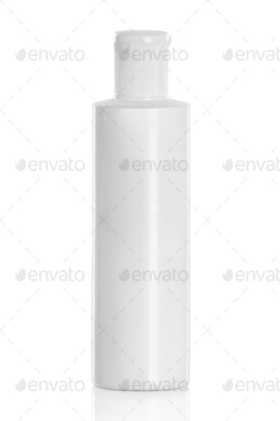 White plastic cosmetic bottle