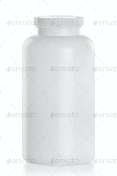 White Medical Drugs Tablets Capsules Plastic Bottle