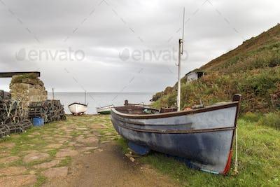 Boats at Penberth Cove in Cornwall