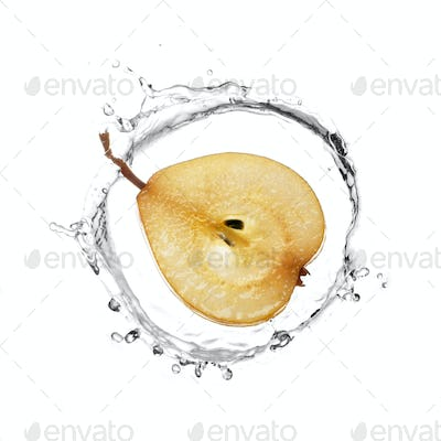 Yellow pear in water splash