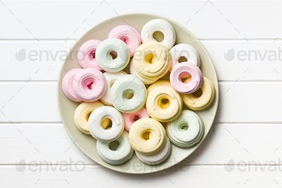 colorful meringues on plate