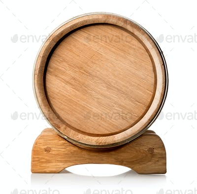 Wooden barrel on the stand