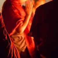 Group of monks praying in Kathmandu