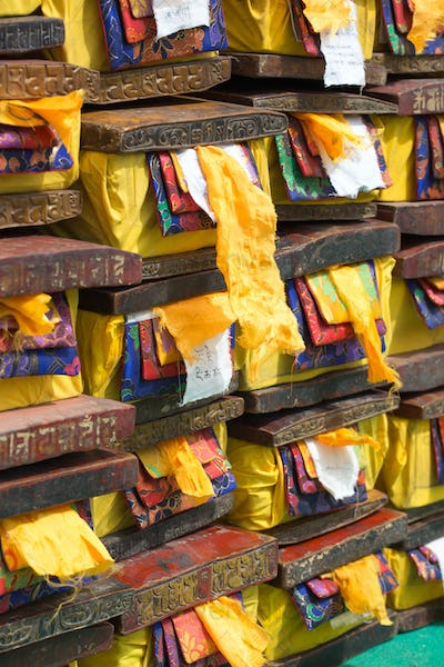 Old wood boxes containing precious Tibetan old and sacred text.