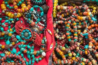 Tibetan fashion accessories in a market in Tibet