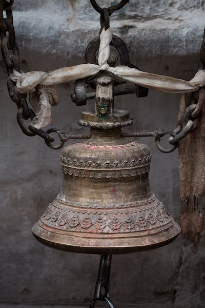 Close-up from a prayers bell