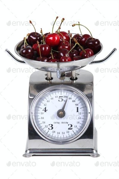 Weighing cherries