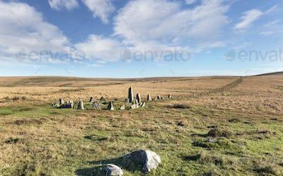 Dartmoor Stone Circle at Down Tor