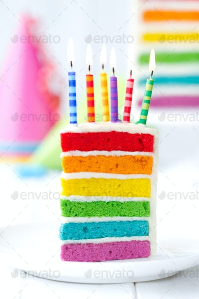 Colorful slice of birthday cake