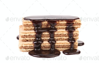 Coated stake wafers of chocolate.