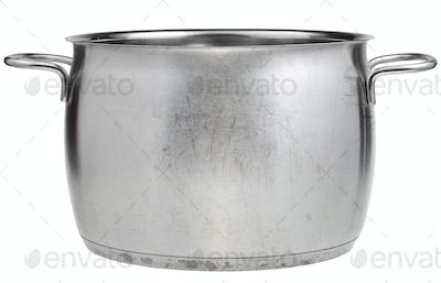 side view of big stainless steel saucepan