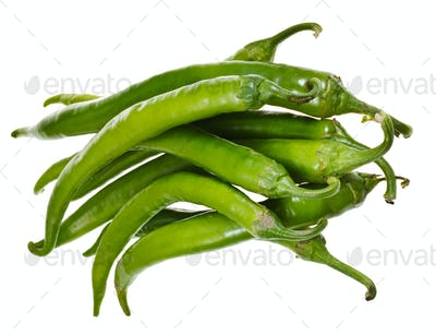 pods of green hot peppers