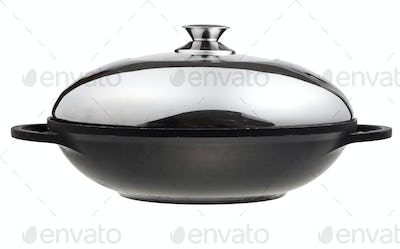flatter-bottomed wok pan covered by metal lid