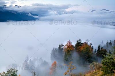fog in Alps during autumn