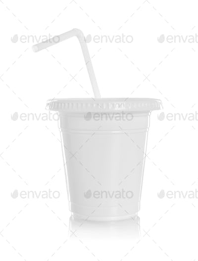 White paper glass with straw