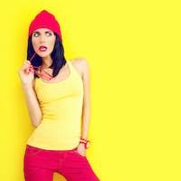 fashion portrait of bright stylish girl