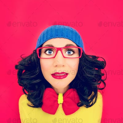 multicolored portrait funny girl