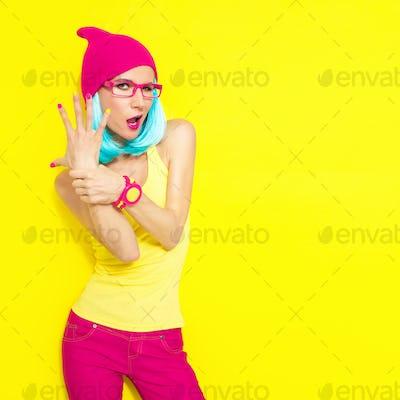 portrait of funny stylish girl