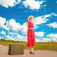 Traveling retro girl