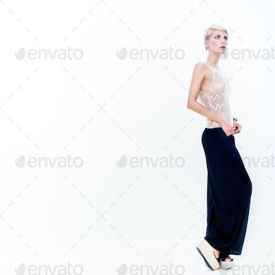 Fashion portrait of sensual beautiful girl