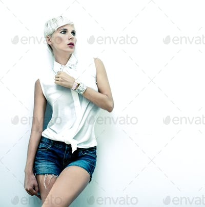 fashion portrait of sensual stylish girl