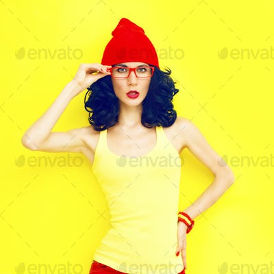 Portrait of bright stylish girl