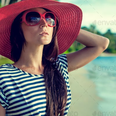 fashion portrait of a girl on vacation