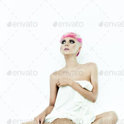 sensual portrait of girl in a white room