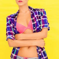 portrait of a girl in a bright underwear
