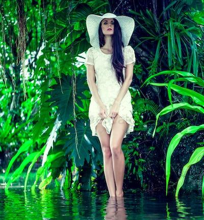 fashion portrait of a sensual girl outdoors