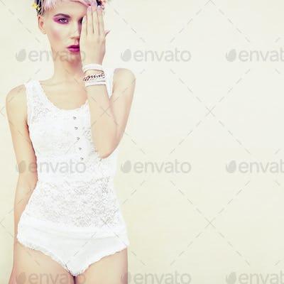 fashion portrait of a sensual girl
