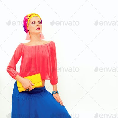 Colorful portrait of a bright summer girl