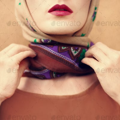 Vintage photos of the girl in a scarf