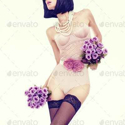 sensual portrait of slim woman in fashionable lingerie