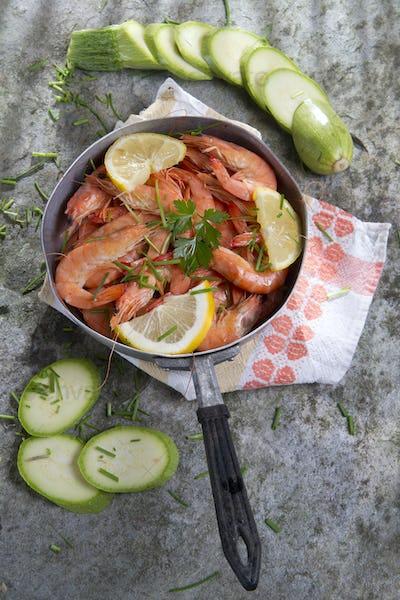 Presentation Of Raw Shrimp