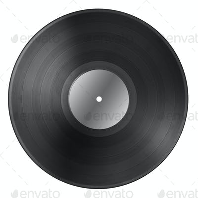 Black vinyl record disc with blank label isolated on white