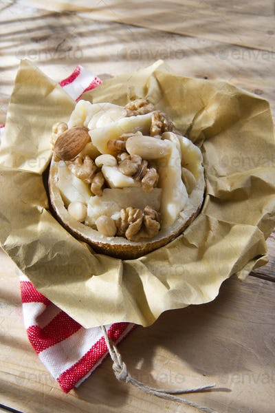 Pecorino cheese and walnuts almonds