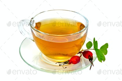 Tea with rosehip in a cup